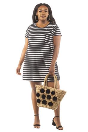 Plus Stripe Brushed Pocket Tee Shirt Dress