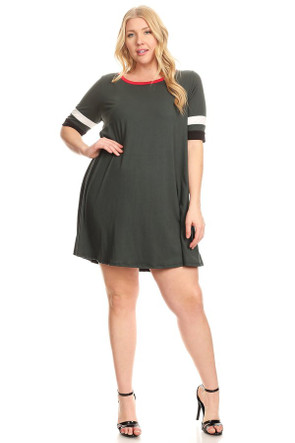 Plus Size Varsity Stripe Ringer Dress - Casual Outfit