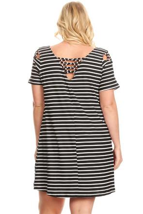 Plus Stripe Back & Shoulder Caging Swing Dress