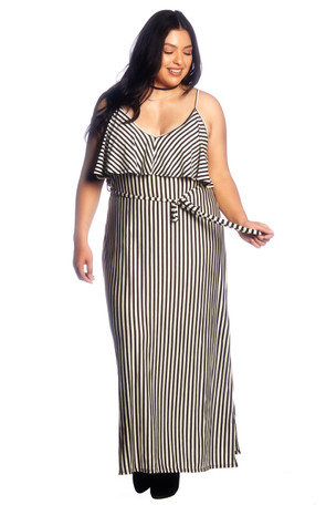Plus Size Ruffle Front Maxi Dress