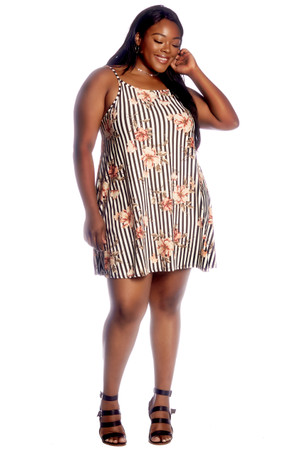 Plus Stripe Floral High Neck Swing Dress