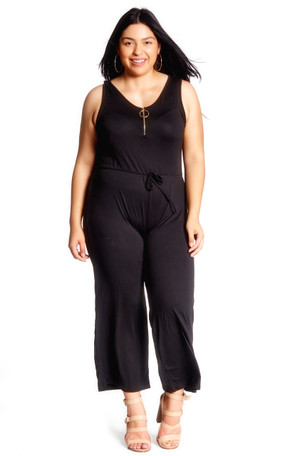 Plus Size Clubwear Zip Front Wide Leg Jumpsuit