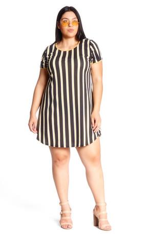 Plus Striped Ringer Swing Dress