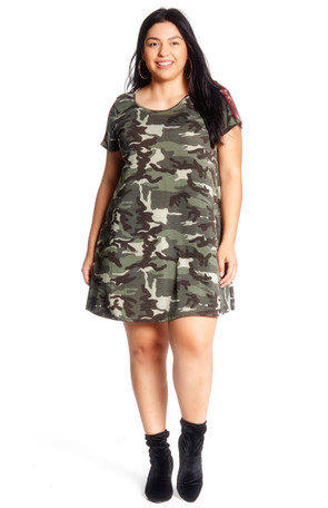 Plus Camo Varsity Stripe Swing Dress