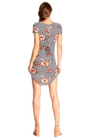 Stripe Floral Gromet Back Tie Body Con Dress