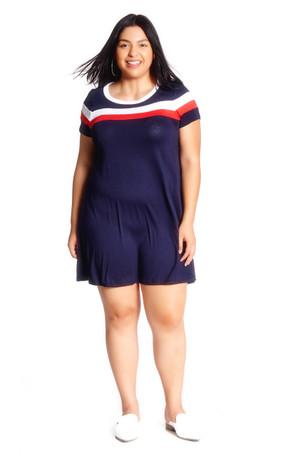 Plus Stripe Insert Swing Dress