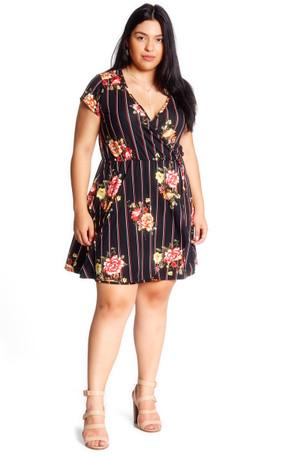 Plus Size Stripe Floral Cap Sleeve Wrap Dress - Casual Outfit