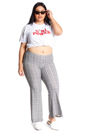 Plus Size Plaid Bell Bottom Pant