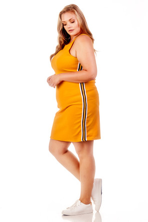 Plus Woven Sport Stripe Tank Dress