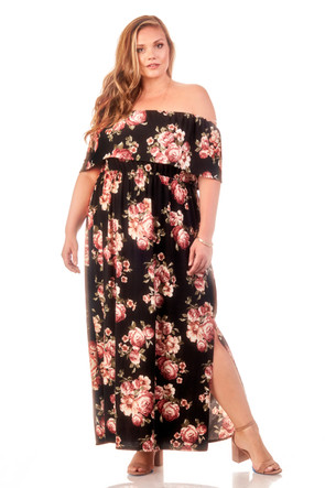 Plus Size Off The Shoulder Floral Maxi Dress
