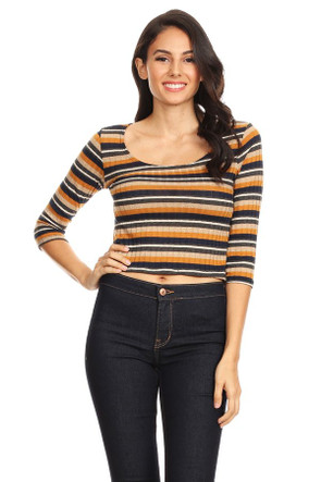 Ribbed Knit Striped Tee
