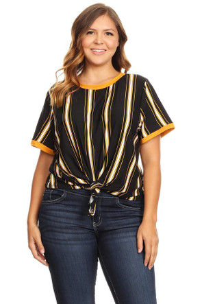 Plus Knotted Striped Ringer Tee