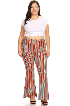 Plus Size Striped Wide Leg High Waisted Flare Pant