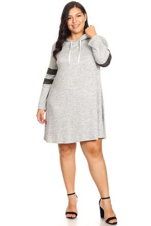 Plus Knit Long Sleeve Hood Swing Dress