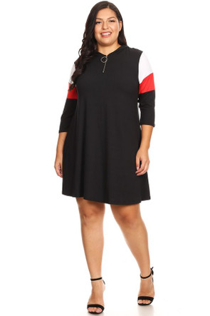 Plus Size Colorblock Zip Up Long Sleeve Dress - Casual Outfit