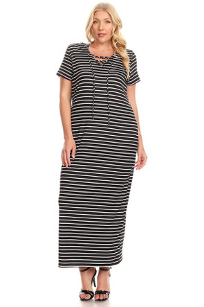 Plus Size Stripe Lace Up Hooded Maxi Dress - Casual Outfit