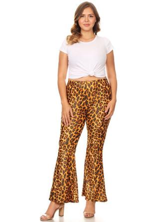 Plus Glittery Animal Print Wide Leg Flare Pant