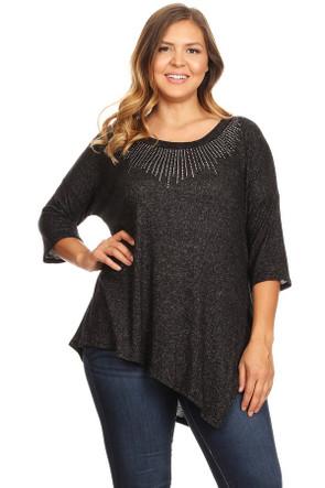 Plus Rhinestone Soft Sweater Top