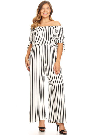 Off The Shoulder Sleeve Tie Jumpsuit