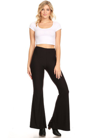 Women's Solid Wide Leg Fit and Flare Pant