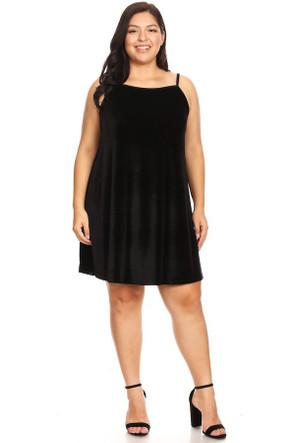 Plus Velvet Babydoll Swing Dress