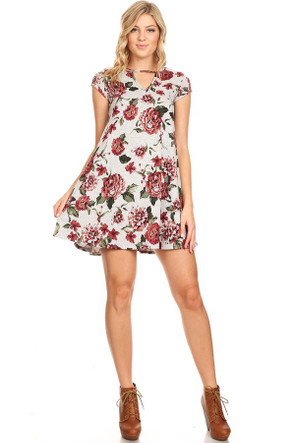 Floral Keyhole Knit Trapeze Dress