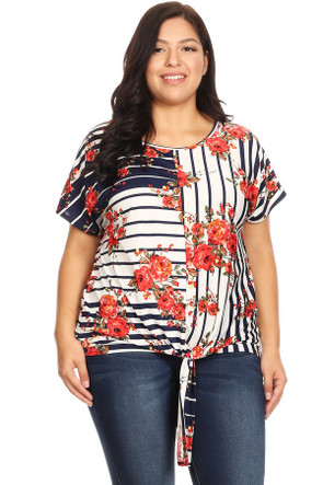 Plus Knotted Floral Print Tee