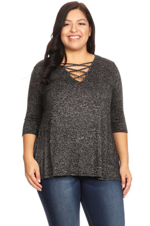 Women's Plus Size V-Neck Sweater Top