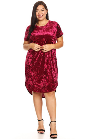Affordable Plus Size Velvet Curved Hem Dress