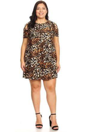 Plus Animal Print Shoulder Caging Swing Dress