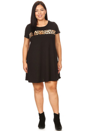 Plus Animal Stripe Ringer Dress