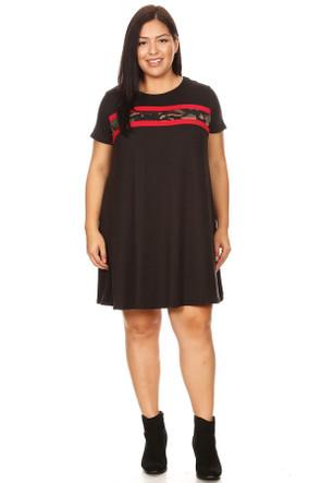 Plus Camo Stripe Ringer Dress