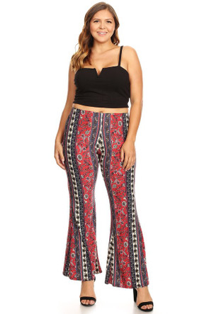 Plus Size High Waisted Aztec Flare Pants