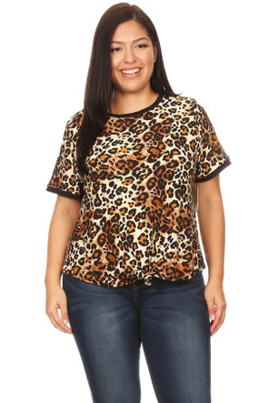 Women's Plus Size Knotted Animal Ringer Tee