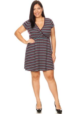 Plus Ribbed Striped Wrap Dress