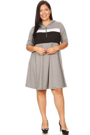 Plus Brushed Zip Color Block Summer Dress