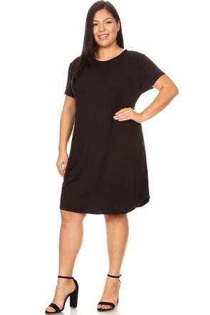 Plus Curved Hem Body Con Dress