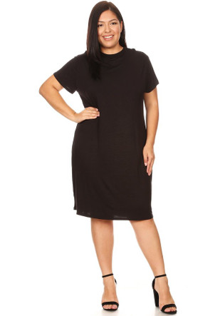 Plus Size Cap Sleeve Lined Mock Neck Midi Dress