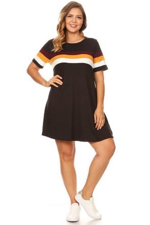 Plus Colorblock Swing Dress