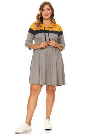 Plus Colorblock Hoodie Dress