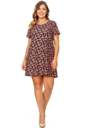 07253d6ddf1 Plus Floral Brushed Pocket Tee Shirt Dress