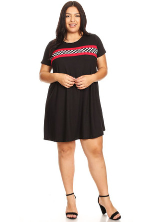 Plus Size Checkered Stripe Ringer Dress