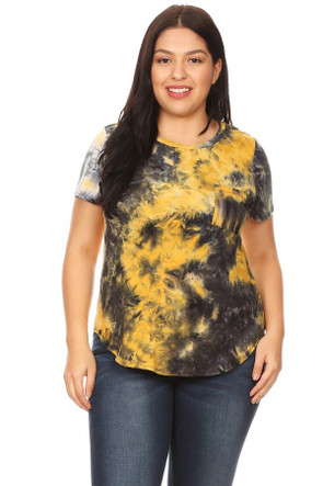 Women's Plus Size Brushed Tie Dye Pocket Tee