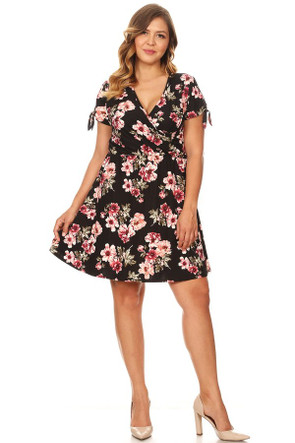 Plus Size Clubwear Brushed Ruched Wrap Dress