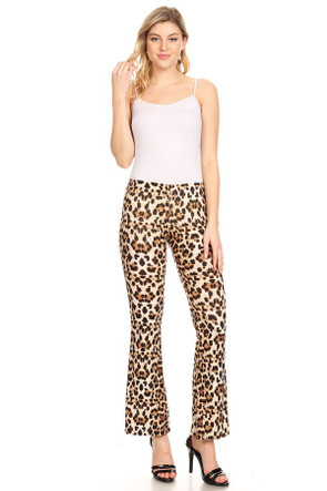 Women's Animal Print Bell Bottom Pant