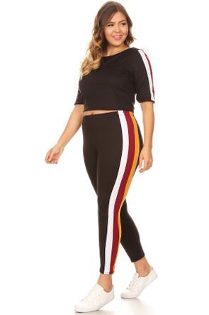 Plus Size Side Stripe Set