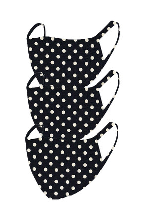 2 Layer Reusable Mask-Black Polka Dot (3 Pack)