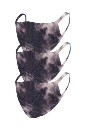 2 Layer Reusable Mask- Charcoal Tie Dye (3 Pack)