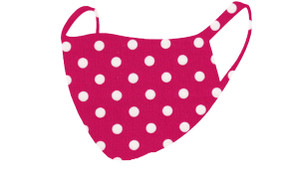 2 Layer Reusable Mask-Fuchsia Ivory Polka Dot