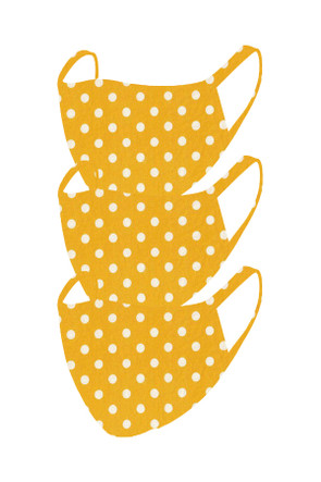 2 Layer Reusable Mask- Yellow Polka Dot (3 Pack)